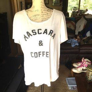 Old navy Mascara & Coffee white tee shirt